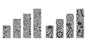 Iconos de la carta de barra del mosaico de las herramientas de la reparación stock de ilustración