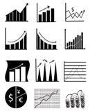 Iconos de la carta y del gráfico de asunto stock de ilustración
