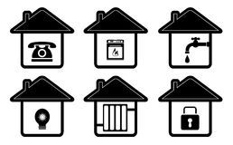 Iconos de la casa con el aparato electrodoméstico Imagen de archivo