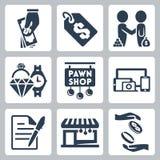 Iconos de la casa de empeños del vector fijados Foto de archivo libre de regalías