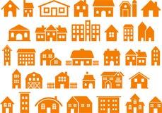 Iconos de la casa y del edificio stock de ilustración