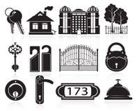 Iconos de la casa y del hotel Fotografía de archivo
