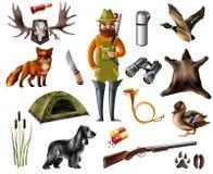 Iconos de la caza fijados Foto de archivo libre de regalías