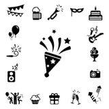 Iconos de la celebración y del partido fijados Fotos de archivo libres de regalías