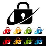 Iconos de la cerradura de la seguridad de Swoosh Imágenes de archivo libres de regalías