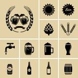 Iconos de la cerveza Fotos de archivo libres de regalías