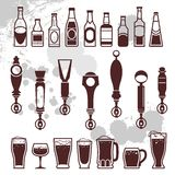 Iconos de la cerveza Fotografía de archivo