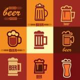 Iconos de la cerveza fijados Foto de archivo libre de regalías
