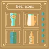 Iconos de la cerveza plana, fondo del vector Imagenes de archivo