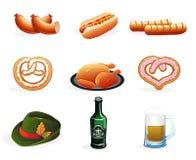 Iconos de la cerveza y de los bocados Fotos de archivo