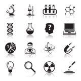 Iconos de la ciencia de la química o de la biología fijados Fotografía de archivo