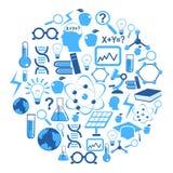 Iconos de la ciencia en círculo Imagen de archivo