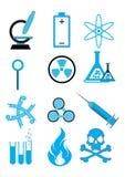 Iconos de la ciencia fijados imágenes de archivo libres de regalías