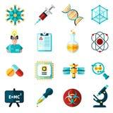 Iconos de la ciencia fijados Imagen de archivo