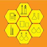 Iconos de la ciencia fijados en fondo imagen de archivo libre de regalías