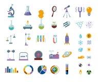 Iconos de la ciencia grande fijados Aislado en el equipo de laboratorio blanco Fotografía de archivo