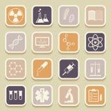 Iconos de la ciencia, médicos y de la educación del universal Fotografía de archivo libre de regalías