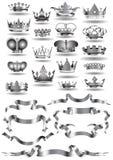 Iconos de la cinta de la corona Imagen de archivo libre de regalías