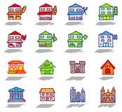 iconos de la ciudad y de los edificios fijados Imagen de archivo libre de regalías