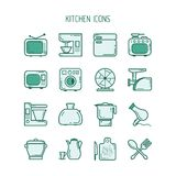 Iconos de la cocina fijados Imágenes de archivo libres de regalías