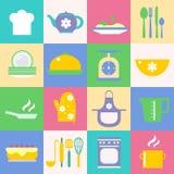 Iconos de la cocina y de la cocina fijados Imagen de archivo libre de regalías