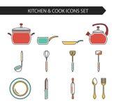 Iconos de la cocina y del cocinero Imagen de archivo libre de regalías