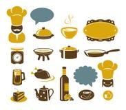 Iconos de la cocina y del restaurante Imagen de archivo libre de regalías