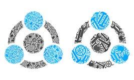 Iconos de la colaboración del mosaico de las herramientas de la reparación stock de ilustración