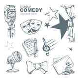 Iconos de la comedia de pie fijados Fotos de archivo