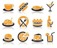 Iconos de la comida Imágenes de archivo libres de regalías
