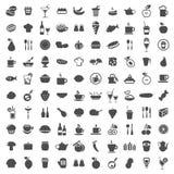 100 iconos de la comida Foto de archivo libre de regalías