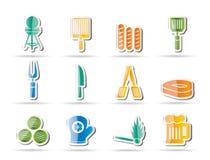 Iconos de la comida campestre, de la barbacoa y de la parrilla Imagenes de archivo