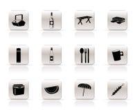 Iconos de la comida campestre y del día de fiesta Imagenes de archivo
