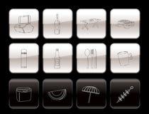 Iconos de la comida campestre y del día de fiesta Fotografía de archivo libre de regalías