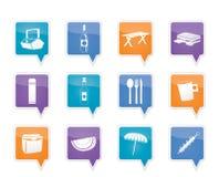 Iconos de la comida campestre y del día de fiesta Fotos de archivo
