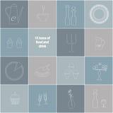 15 iconos de la comida, de la bebida y de mercancías fotos de archivo