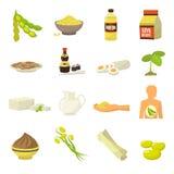 Iconos de la comida de la soja Imagen de archivo libre de regalías