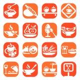 Iconos de la comida del color Imagen de archivo libre de regalías