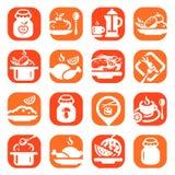 Iconos de la comida del color Imágenes de archivo libres de regalías