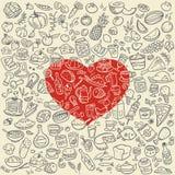 Iconos de la comida del garabato Imágenes de archivo libres de regalías