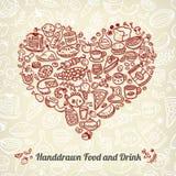 Iconos de la comida del garabato Foto de archivo libre de regalías