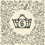 Iconos de la comida del garabato Fotografía de archivo libre de regalías