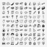 Iconos de la comida del garabato fijados Imágenes de archivo libres de regalías
