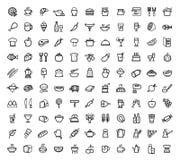Iconos de la comida del vector fijados Foto de archivo libre de regalías
