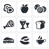 Iconos de la comida del vector fijados Foto de archivo
