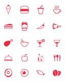 Iconos de la comida en rojo Stock de ilustración