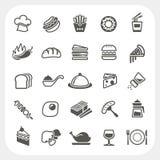 Iconos de la comida fijados Foto de archivo libre de regalías