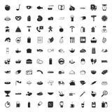 Iconos de la comida 100 fijados para el web Imagen de archivo