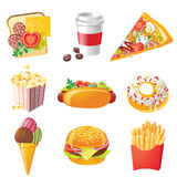 Iconos de la comida rápida Fotografía de archivo libre de regalías