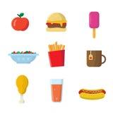 Iconos de la comida rápida Fotos de archivo libres de regalías